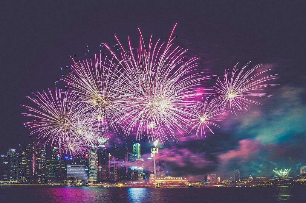 fireworks, purple, city